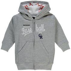 #Fanatics.com - #Soft as a Grape Colorado Rockies Soft As A Grape Toddler Biggest Fan Embroidered Full-Zip Hoodie - Gray - AdoreWe.com