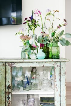 wildflowers in vases, bottles & jars