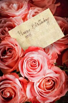 Bouquet of pink roses with a greeting card with text: 'Happy Bir , Happy Birthday. Bouquet of pink roses with a greeting card with text: 'Happy Bir , Happy Birthday Flowers Wishes, Happy Birthday Bouquet, Happy Birthday Video, Happy Birthday Celebration, Happy Birthday Pictures, Birthday Wishes Cards, Happy Birthday Messages, Happy Birthday Quotes, Happy Birthday Greetings