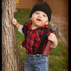 A Cute Baby Lumberjack Costume With A Beard