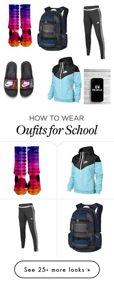 """""""Extra lazy day at school"""" by haley127 on Polyvore featuring adidas, NIKE and…"""