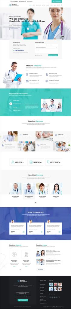 iMedDoc is clean and modern design PSD #template for professional #medical and healthcare #clinics website with 11 layered PSD pages download now..