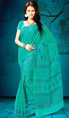 Dark Turquoise Shade Embroidered Cotton Saree Look beautiful draped in this dark turquoise shade cotton saree. Saree is beautified with decorative patterns and embroidered motifs that gives you a perfect look. Comes with a matching stitched round neck blouse with 6 inches sleeves. #EmbroideredCottonSaree #BuyCottonSilkSarees