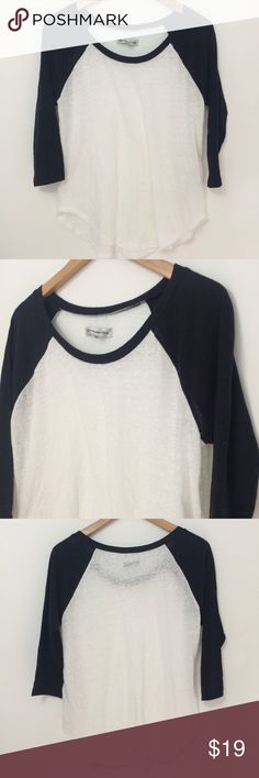 ✨SALE✨ A&F | Baseball T-Shirt Black & White baseball t shirt from Abercrombie & Fitch. Lightweight material, kind of see through in the white are so you will need a tank underneath. Very cute and sporty! Worn once, no flaws! Abercrombie & Fitch Tops