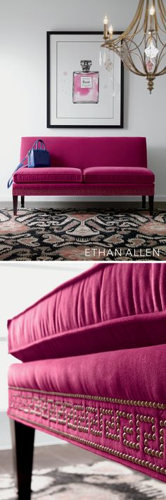 Think pink—and you've got yourself a happy room. Now think of a deeper hue—say, a rich magenta wrapped around a seductively modern settee—for pure joy. Add an uncommon decorative detail, like nailhead trim in a Greek key pattern, and it's bliss!