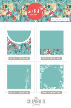 A bite-sized taste of the easy-to-edit social media templates I created for Artful Math. Tap some love on this pin to drool over the entire custom brand identity suite we created for them, including #fonts, #colors, #logos, #submarks, #pattern designs, and #icons. The Solopreneur Society, www.thesolopreneursociety.com