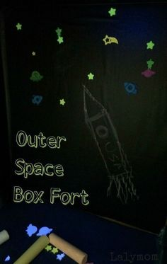This outer space box fort from LalyMom is so cool! You can color on both the vertical and horizontal surfaces. Kids find this outer space box fort super neat because it glows in the dark. Take a trip to space with this fun hands-on activity. Makes for a great rainy day activity. Craft Activities For Kids, Hands On Activities, Toddler Activities, Learning Activities, Space Activities, Nursery Activities, Craft Ideas, Indoor Activities, Fun Ideas