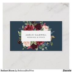 Shop Radiant Bloom Business Card created by RedwoodAndVine. Square Business Cards, Black Business Card, Business Card Size, Business Card Design, Photographer Business Cards, Navy Blue Flowers, Hairstylist Business Cards, Referral Cards, Wedding Event Planner