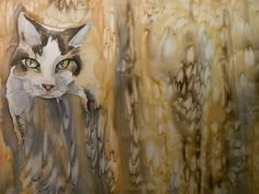 cats on silk, painted by Hardejewicz-Hardy