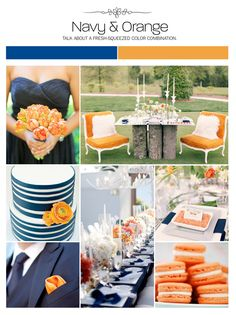 Navy and orange wedding inspiration board, color palette, mood board via Weddings Illustrated