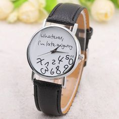 Whatever Dial Artificial Leather Watch - Black Mobile Cheap Watches For Men, Stylish Watches, Always Late, Watch Display, Artificial Leather, Watch Faces, Quartz Watch, Pu Leather, Band