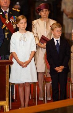 Crown Princess Elisabeth and Prince Emmanuel of Belgium are attending the Te Deum at the Sint-Michiels-en-Sint Goedelekathedraal during the National Day celebrations in Brussels (Belgium), 21.07.2014.