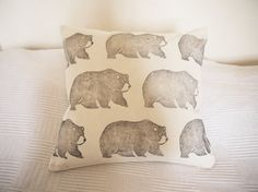 Items similar to large hand printed bear cushion cover on Etsy Cushions, Hands, Bear, Throw Pillows, Bedroom, Printed, Trending Outfits, Unique Jewelry, Awesome