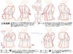 """巽レイさんはTwitterを使っています: """"服を描写するときは縫い目に着目しようというお話です。どこに縫い合わせの線があるかを把握し、立体構造を意識して描くと嘘臭さが減ります。 なお、この図はけっこうアバウトに描いているので、正確なことは服飾の専門誌を参照してください。 https://t.co/bM38ZtW7OG"""""""