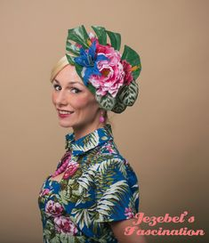 Lagoon Tiki Tropical Exotic Headdress Floral Hibiscus Lily Fascinator Beach Leaf Headdress Pink Blue Flower Hawaiian Iasland Hula Headpiece - pinned by pin4etsy.com