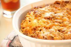 John Wayne Casserole | Ground beef, cheese, cream of chicken soup, salsa... Such a delicious ground beef casserole recipe!