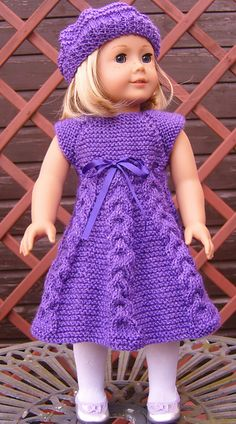 Ravelry: American Girl Doll Top Down Party Dress Set by Jacqueline Gibb (Written instructions for a Sparkly, cabeld pattern Dress & garter stitch pattern Hat) Knitting Dolls Clothes, Ag Doll Clothes, Crochet Doll Clothes, Doll Clothes Patterns, Ropa American Girl, American Girl Crochet, Knitted Doll Patterns, Knitted Dolls, American Doll Clothes