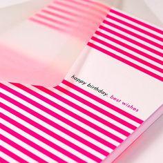 "Bethge | Happ birthday card ""Stripes"" in pink."
