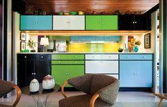 mid-century modern kitchen design. (LA magazine)