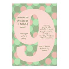 Shop Big 9 Birthday Party Invitations, Pink and Green Invitation created by CustomInvites. Pink Invitations, Birthday Party Invitations, 9th Birthday Parties, White Envelopes, Pink And Green, Rsvp, Big, Cards, Color