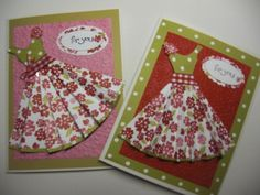 Pleated Dress Card by JaneCS - Cards and Paper Crafts at Splitcoaststampers Fun Crafts, Paper Crafts, Paper Dolls Printable, Dress Card, Card Tags, Cute Cards, Pattern Paper, Homemade Cards, Cardmaking