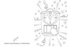 Nieuwjaar klok-kaart