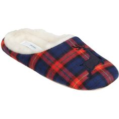 John Lewis Tartan Reindeer Vamp Faux Fur Slippers, Navy (1,590 INR) ❤ liked on Polyvore featuring shoes and slippers