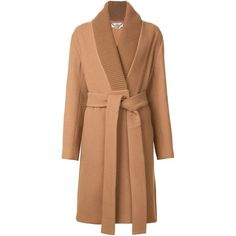 Stella McCartney Ribbed Collar Coat ($2,525) ❤ liked on Polyvore featuring outerwear, coats, first fall, kirna zabete, stella mccartney, stella mccartney coat, long sleeve coat, beige wool coat and beige coat