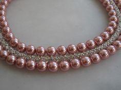 Wedding pink glass  cylinder rhinestone chain  by galladesign