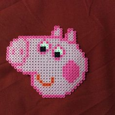 Peppa Pig perler beads by Pearler Bead Patterns, Perler Patterns, Pearler Beads, Peppa Pig, Tapestry Crochet Patterns, Fusion Beads, Iron Beads, Beaded Cross Stitch, Bead Kits