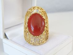 New Designer 14K Yellow Gold Sterling Silver Carnelian Filigree Knuckle Ring 8 #QVC #Statement#Carnelian #CarnelianJewelry #Filigree #FiligreeJewelry #SterlingJewelry #SterlingSilverJewelry #KnuckleRing #KnucktoKnuckleRing #StatementJewelry #GoldJewelry #QVCJewelry #DesignerJewelry #Fashionista #VintageStyleJewelry #AntiqueStyleJewelry