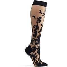 Ozone Women's Japanese Floral Damask Sheer Knee High Sock, Black, One... ($38) ❤ liked on Polyvore featuring intimates, hosiery, socks, see through socks, floral socks, knee hi socks, sheer knee high socks and sheer hosiery