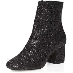 Dorothy Perkins Black 'Adele' Glitter Boot (22.415 HUF) ❤ liked on Polyvore featuring shoes, boots, ankle booties, black, glitter booties, short black boots, black bootie, ankle boots and high heel bootie