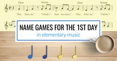 Name games for the first day in elementary music. Includes songs such as Hickety Tickety Bumblebee, Telephone Song, and Bounce High. Elementary Music Lessons, Music Lessons For Kids, Singing Lessons, Singing Tips, Piano Lessons, First Day Activities, Music Activities, Music Games, Music Songs