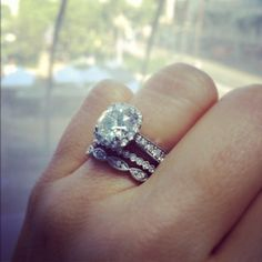 Halo Ring stacked with two different thin bands instead of one wider matching band give this set a more vintage look.