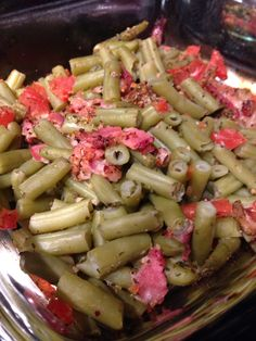 Bacon, tomatoes and green beans