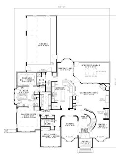 First Floor Plan of European   House Plan 61204