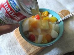 Carnation milk and tinned fruit. Classic 1970's kid pudding. mmmm.....loved it....prob fav pudding in the 70's!!xx