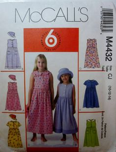 McCalls 4432 Girls Dress and Hat Sewing Pattern by Denisecraft, $5.99