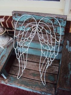 Shabby Chic Wrought Iron Angel Wings Fairy by primitivepincushion, $39.99