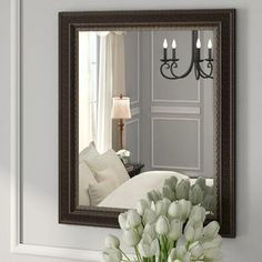 Distressed Black Wood Wall Mirror
