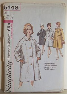 Women's Front Button Coat and Scarf Size 12 UNCUT Vintage Simplicity 5148 Sewing Pattern