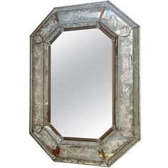 Octagonal Venetian Antique Mirror  W-33 D2.75 H44