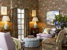 Chintz walls, upholstery, draperies & Spitzmiller lamps