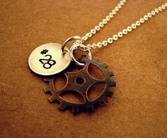Motocross Sprocket Handstamped Necklace