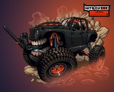 """Illustration for """"Rebel Offroad"""" based on custom Jeep build. Monster Car, Monster Truck Birthday, Monster Trucks, Jeep Concept, Concept Cars, Jeep Drawing, Cool Car Drawings, Custom Jeep, Expedition Vehicle"""