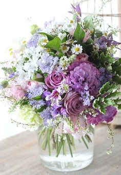 Purple floral arrangement with assorted garden flowers. Love the variety, it all… – 2019 - Floral Decor Purple Flower Arrangements, Floral Centerpieces, Floral Bouquets, Flower Vases, Lilac Bouquet, Flower Pots, Fresh Flowers, Purple Flowers, Spring Flowers
