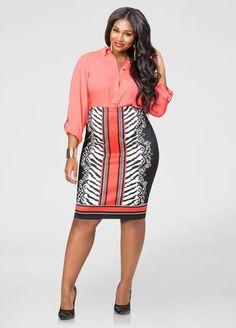 Scuba Animal Print Pencil Skirt-Plus Size Skirts-Ashley Stewart Plus Size Pencil Skirt, Printed Pencil Skirt, Plus Size Skirts, Plus Size Fall Outfit, Plus Size Outfits, Curvy Fashion, Plus Size Fashion, Fashionable Plus Size Clothing, Pencil Skirt Outfits