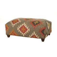 Add contemporary chic to your living space with this Kilm double ottoman from Chehoma. With sturdy wooden feet and linen upholstery, this ottoman features a traditional multicolour kilim pattern on...