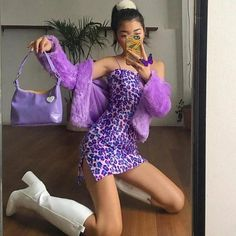 purple fits☔️☔️ by Lila Outfits, Purple Outfits, Retro Outfits, Trendy Outfits, Fashion Outfits, K Fashion, Purple Fashion, Purple Dress, Goth Girl Outfits
